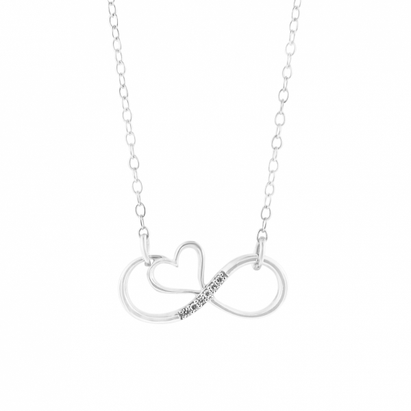 "0.02 Carat Sterling Silver ""Infinite Love"" Diamond Necklace by Daphne Diamond"